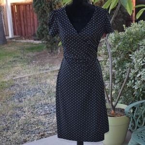 Loft black with dots wrap front dress P10